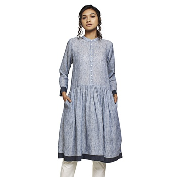 Grey plain cotton kurtas-and-kurtis