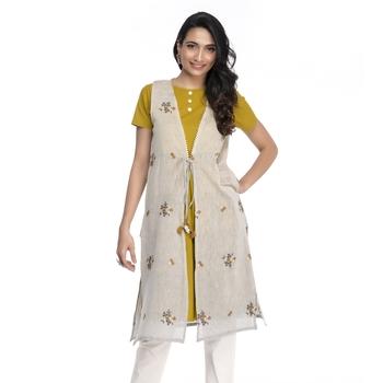 Yellow embroidered chanderi kurtas-and-kurtis