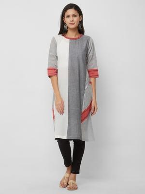 Grey plain cotton kurtas-and-kurtis