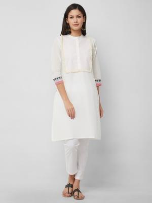 White plain cotton kurtas-and-kurtis