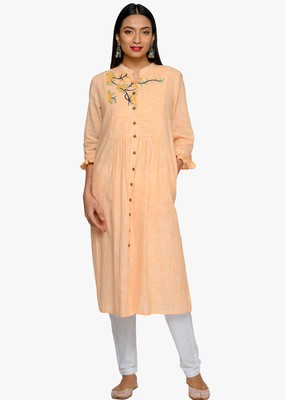 Yellow embroidered cotton kurtas-and-kurtis