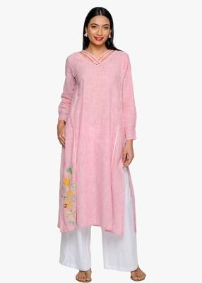 Pink embroidered cotton kurtas-and-kurtis