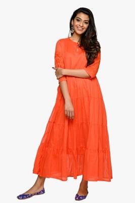 Orange embroidered cotton kurtas-and-kurtis