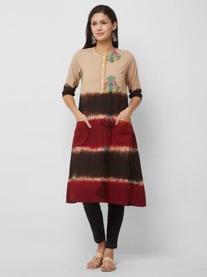 Beige embroidered cotton kurtas-and-kurtis