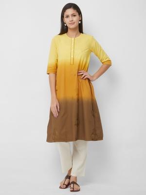 Yellow embroidered cotton kurtas-and-kurtis