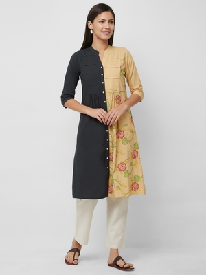 Multicolor embroidered cotton kurtas-and-kurtis