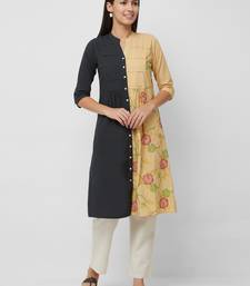 Multicolor embroidered cotton kurtas-and-kurtis