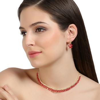 Pink cubic zirconia necklaces