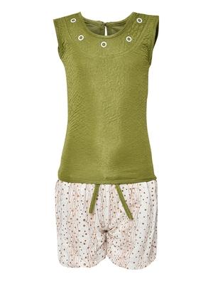 Green plain nylon kids-tops