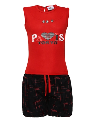 Red plain nylon kids-tops