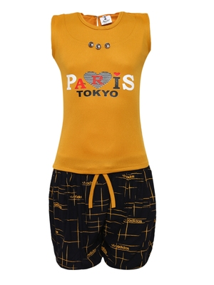 Yellow plain nylon kids-tops