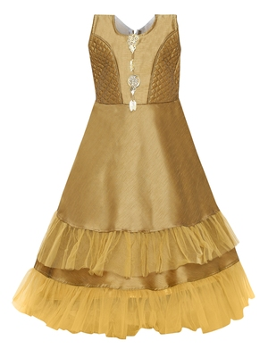 Gold plain silk blend kids-girl-gowns
