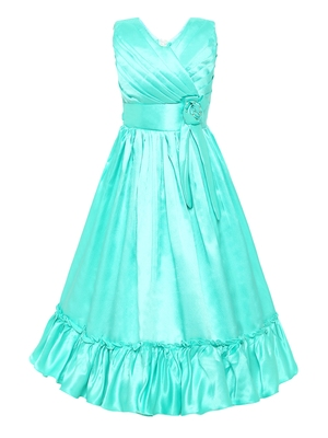 Green plain silk blend kids-girl-gowns