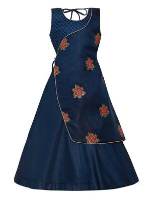 Blue plain silk blend kids-girl-gowns