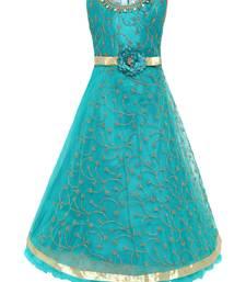 Green Plain Net Kids-Girl-Gowns