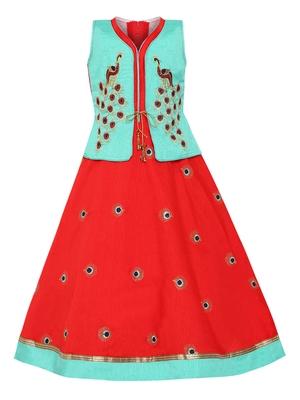 Green plain silk blend kids-girl-gowns