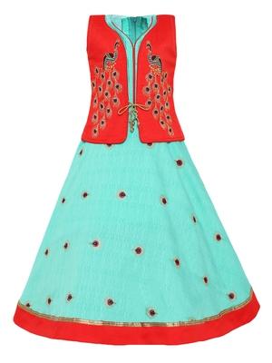 Red plain silk blend kids-girl-gowns