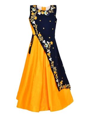 Yellow Plain Silk Blend Kids-Girl-Gowns