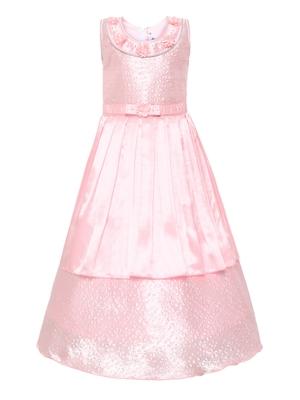 Pink plain silk blend kids-girl-gowns