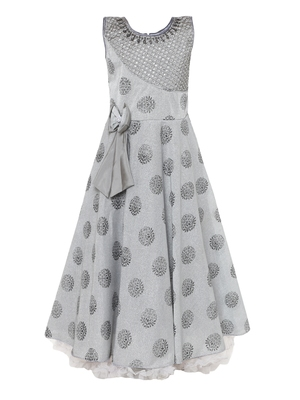 Grey plain nylon kids-girl-gowns