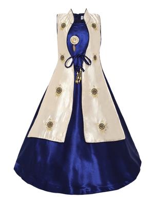 Blue Plain Satin Kids Girl Gowns