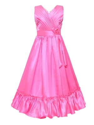 Pink plain satin kids-girl-gowns
