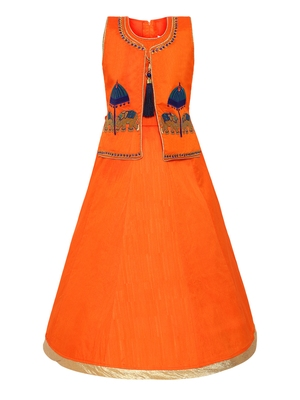 Orange Plain Silk Blend Kids-Girl-Gowns