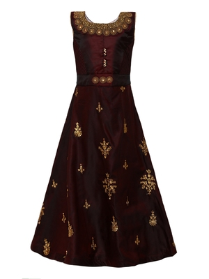 Maroon plain silk blend kids-girl-gowns