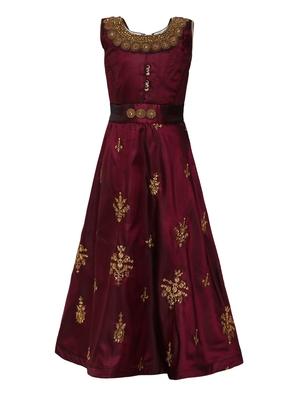 Purple plain silk blend kids-girl-gowns