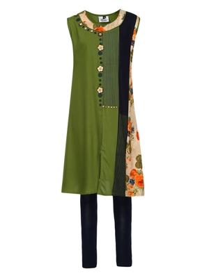Green plain cotton kids-tops