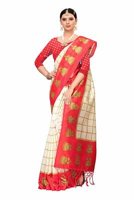 White and Red Printed Art Silk Saree With Blouse