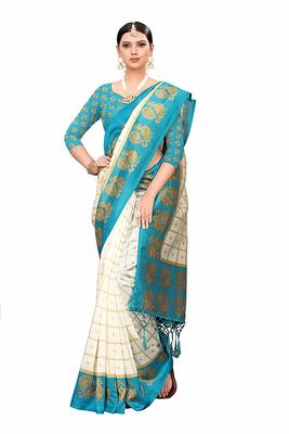 White and Blue Printed Art Silk Saree With Blouse