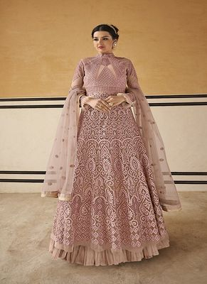 Salmon embroidered net salwar