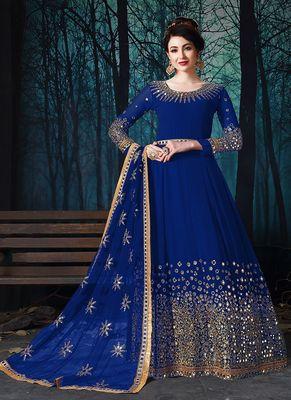 Blue embroidered georgette salwar