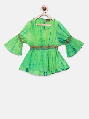 Green printed georgette kids-tops