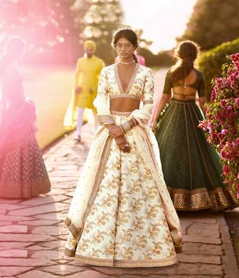 Classy Off-White Colored Zari Embroidered Wedding Designer Bridesmaid Lehenga Choli with Dupatta
