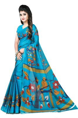 Dark multicolor printed art silk sarees saree with blouse