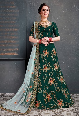Ethnic Dark-Green Embroidered Wedding Designer Bridesmaid Lehenga Choli With Dupatta