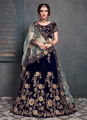 Dark-Blue Colored Zari Embroidered Wedding Bridal Velvet Lehenga Choli With Dupatta