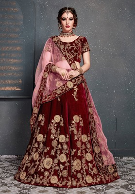 Engrossing Maroon Zari Embroidered Wedding Bridal Velvet Lehenga Choli With Dupatta
