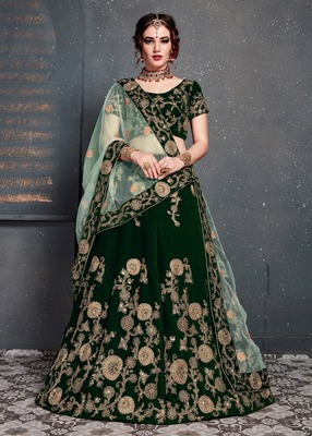 Dazzling Dark-Green Embroidered Velvet Wedding Bridal Lehenga Choli with Dupatta