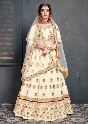 Glowing Cream Embroidered Wedding Designer Bridesmaid Lehenga Choli With Dupatta