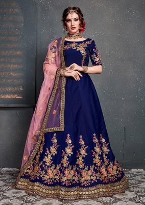 Mesmerizing Blue Embroidered Wedding Designer Bridesmaid Lehenga Choli With Dupatta