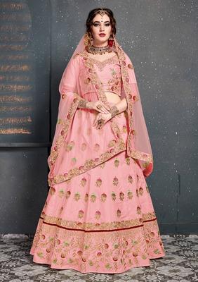 Unique Baby-Pink Colored Silk Wedding Designer Bridesmaid Lehenga Choli with Dupatta