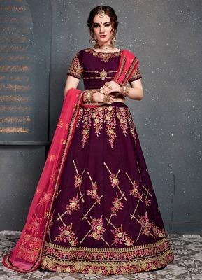 Impressive Maroon Colored Taffeta Silk Wedding Designer Bridesmaid Lehenga Choli with Dupatta