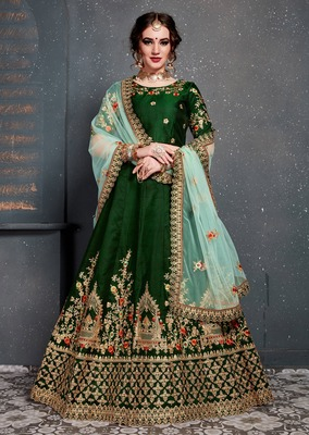 Gleaming Green Colored Taffeta Silk Wedding Designer Bridesmaid Lehenga Choli With Dupatta
