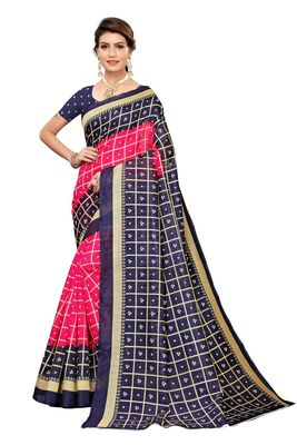 Pink printed art silk saree with blouse