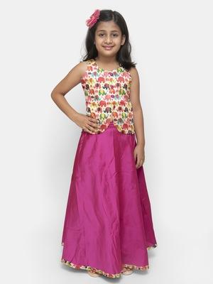 Pink plain silk blend stitched kids lehenga choli