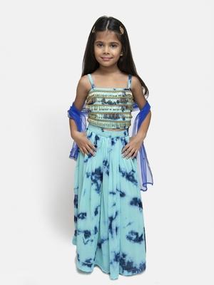 Blue Printed Georgette Stitched Kids Lehenga Choli