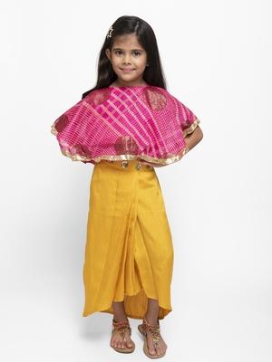 Yellow plain silk blend stitched kids lehenga choli